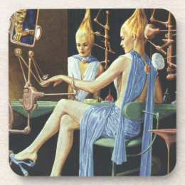 Vintage Science Fiction Beauty Salon Spa Manicures Coaster