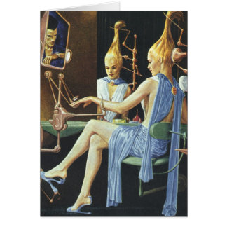 Vintage Science Fiction Beauty Salon Spa Manicures Greeting Card