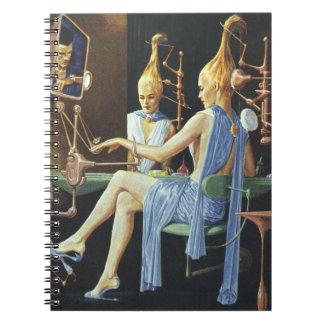 Vintage Science Fiction Beauty Salon Spa Manicures Notebook