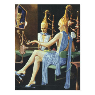 Vintage Science Fiction Beauty Salon Spa Manicures Postcard