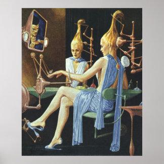 Vintage Science Fiction Beauty Salon Spa Manicures Poster