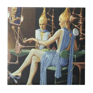 Vintage Science Fiction Beauty Salon Spa Manicures Tile