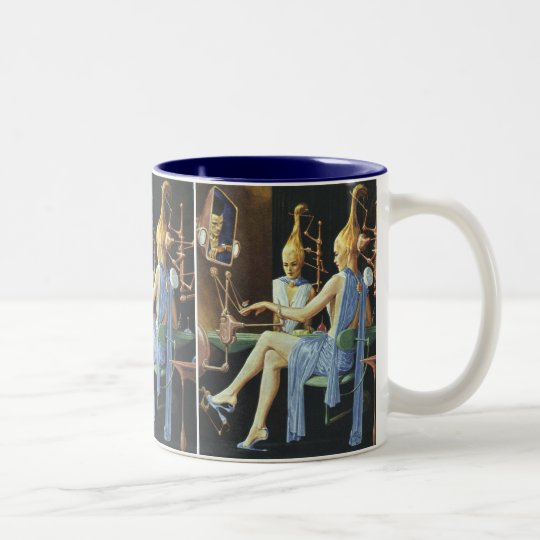Vintage Science Fiction Beauty Salon Spa Manicures Two-Tone Coffee Mug