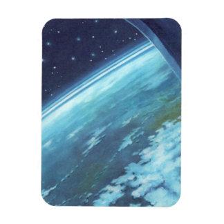 Vintage Science Fiction, Blue Earth, Night Stars Rectangular Magnet