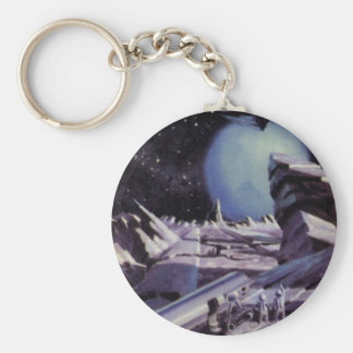 Vintage Science Fiction, Blue Planet with Aliens Basic Round Button Keychain