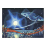 Vintage Science Fiction Blue Planet with Spaceship 5x7 Paper Invitation Card