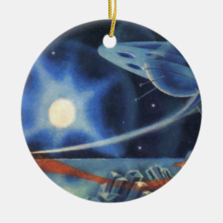 Vintage Science Fiction Blue Planet with Spaceship Ceramic Ornament