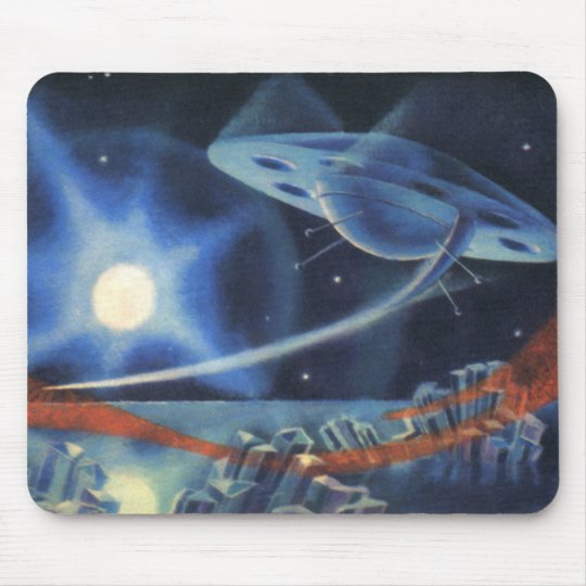 Vintage Science Fiction Blue Planet with Spaceship Mouse Pad