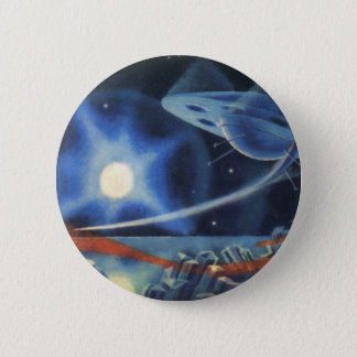 Vintage Science Fiction Blue Planet with Spaceship Pinback Button