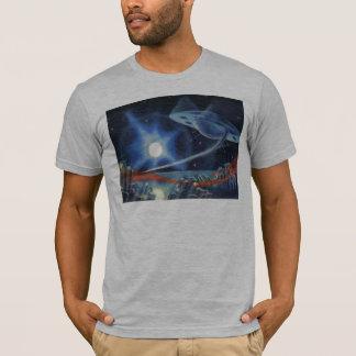 Vintage Science Fiction Blue Planet with Spaceship T-Shirt