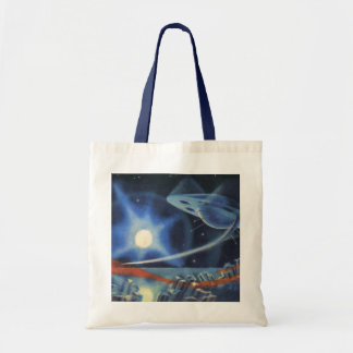 Vintage Science Fiction Blue Planet with Spaceship Tote Bag