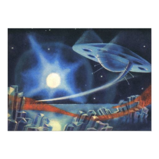 Vintage Science Fiction Blue Spaceship Over Planet Custom Invite