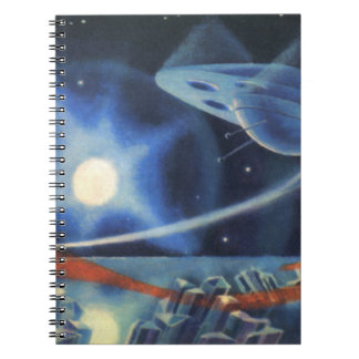 Vintage Science Fiction Blue Spaceship Over Planet Notebooks
