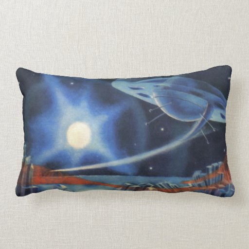 Vintage Science Fiction Blue Spaceship Over Planet Pillows