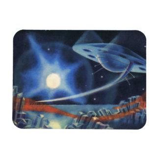 Vintage Science Fiction Blue Spaceship Over Planet Rectangular Magnets