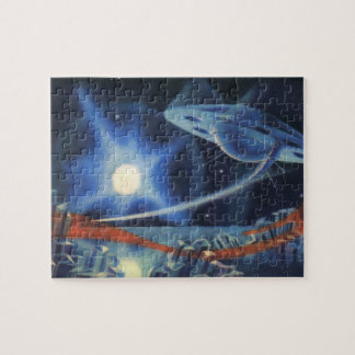Vintage Science Fiction Blue Spaceship Over Planet Jigsaw Puzzle