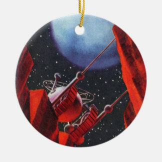 Vintage Science Fiction, Canyon Space Moon Rover Ceramic Ornament