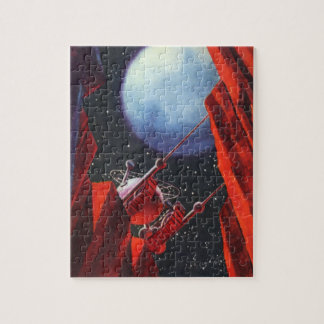 Vintage Science Fiction, Canyon Space Moon Rover Jigsaw Puzzle
