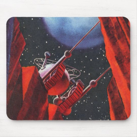 Vintage Science Fiction, Canyon Space Moon Rover Mouse Pad