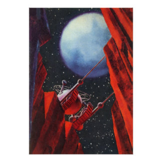 Vintage Science Fiction, Canyon Space Moon Rover Poster