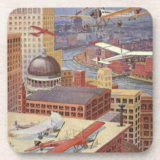 Vintage Science Fiction City, Steam Punk Machines Beverage Coaster