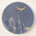 Vintage Science Fiction, Crescent Moon Snow Planet Drink Coaster