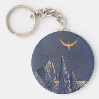Vintage Science Fiction, Crescent Moon Snow Planet Keychain