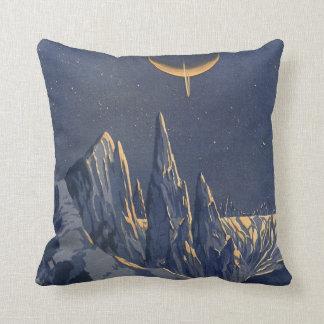 Vintage Science Fiction, Crescent Moon Snow Planet Pillow