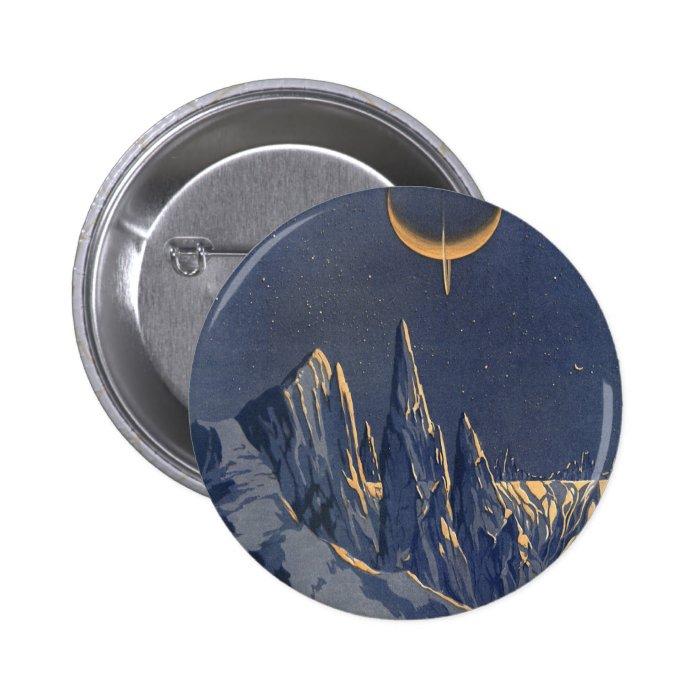 Vintage Science Fiction, Crescent Moon Snow Planet Pinback Button