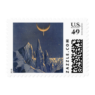 Vintage Science Fiction, Crescent Moon Snow Planet Postage Stamp