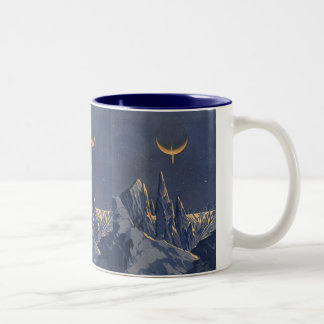 Vintage Science Fiction, Crescent Moon Snow Planet Two-Tone Coffee Mug