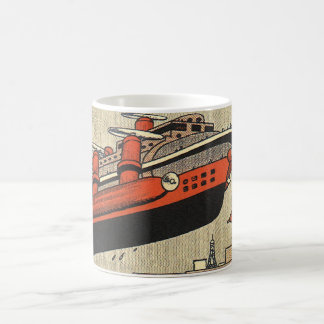 Vintage Science Fiction Cruise Ship Helicopter Classic White Coffee Mug