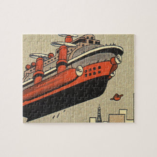 Vintage Science Fiction Cruise Ship Helicopter Jigsaw Puzzle