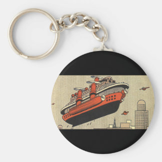 Vintage Science Fiction Cruise Ship Helicopter Keychain