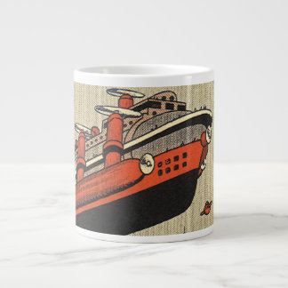 Vintage Science Fiction Cruise Ship Helicopter Large Coffee Mug