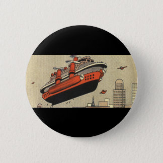 Vintage Science Fiction Cruise Ship Helicopter Pinback Button