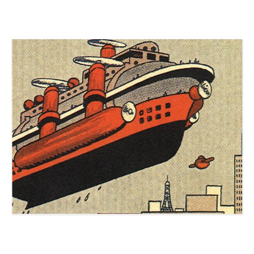 Vintage Science Fiction Cruise Ship Helicopter Postcard