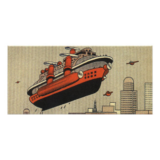 Vintage Science Fiction Cruise Ship Helicopter Poster