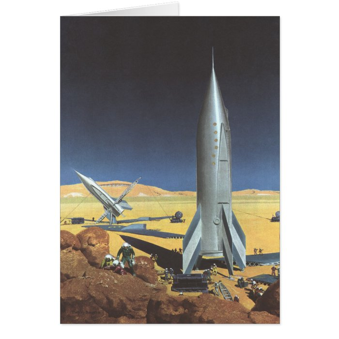 Vintage Science Fiction Desert Planet with Rockets Card
