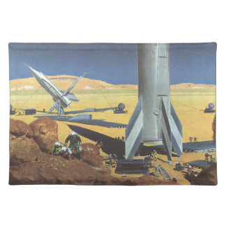 Vintage Science Fiction Desert Planet with Rockets Cloth Placemat