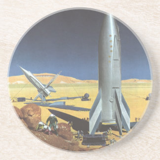 Vintage Science Fiction Desert Planet with Rockets Drink Coaster