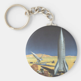 Vintage Science Fiction Desert Planet with Rockets Keychain
