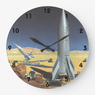 Vintage Science Fiction Desert Planet with Rockets Large Clock