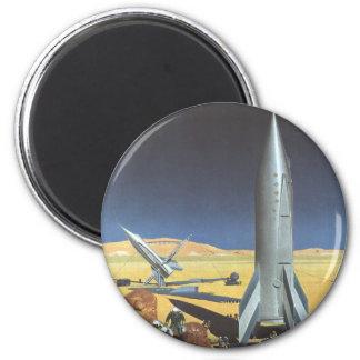 Vintage Science Fiction Desert Planet with Rockets Magnet