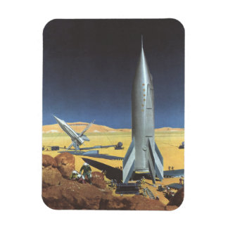 Vintage Science Fiction Desert Planet with Rockets Magnet