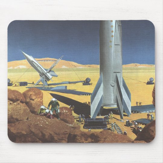 Vintage Science Fiction Desert Planet with Rockets Mouse Pad