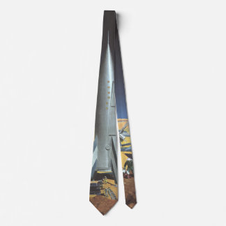 Vintage Science Fiction Desert Planet with Rockets Neck Tie