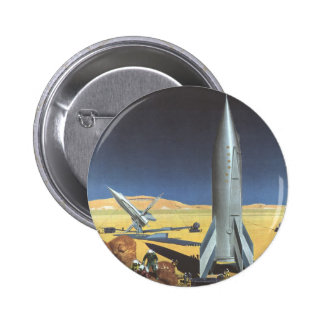 Vintage Science Fiction Desert Planet with Rockets Pinback Button