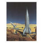 Vintage Science Fiction Desert Planet with Rockets Poster