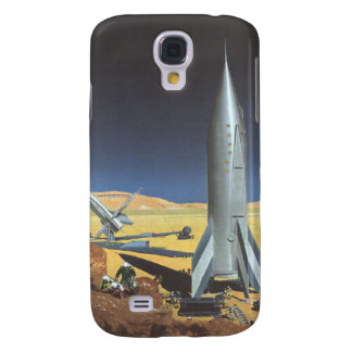 Vintage Science Fiction Desert Planet with Rockets Samsung Galaxy S4 Case